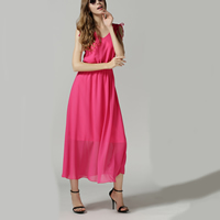 Acrylic & Chiffon Long Evening Dress backless plain dyed patchwork pink Sold By PC