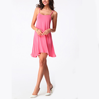 Cotton A-line Sexy One-piece Dress backless hollow plain dyed Solid