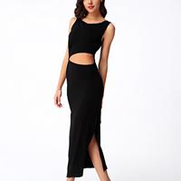 Cotton side slit Long Evening Dress backless hollow plain dyed Solid black
