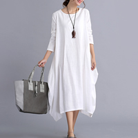 Cotton Fabric Asymmetrical One-piece Dress loose Solid Sold By PC