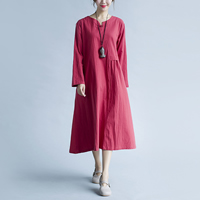 Cotton Fabric One-piece Dress loose   mid-calf Solid wine red