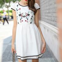 Chiffon   Cotton A-line One-piece Dress embroider floral white