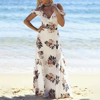 Polyester   Cotton front slit Beach Dress off shoulder printed floral white