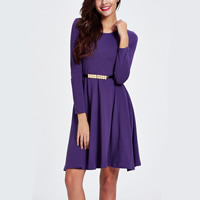 Polyester Princess One-piece Dress with belt plain dyed Solid purple Sold By PC
