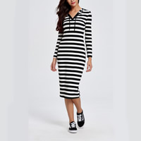 Knitted Cotton Sweatshirts Dress knee-length printed striped white and black