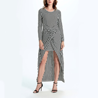 Knitted Cotton   Polyester One-piece Dress false two piece   short front long back printed striped white and black
