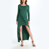 Polyester   Cotton Asymmetrical One-piece Dress false two piece plain dyed Solid green