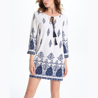 Line A-line One-piece Dress printed geometric white
