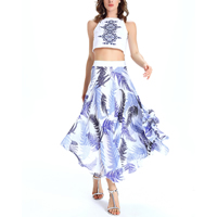 Chiffon   Polyester Women Casual Set off shoulder printed leaf pattern white