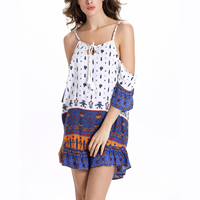 Polyester   Cotton One-piece Dress backless printed geometric white