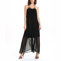 Chiffon   Polyester One-piece Dress backless mid-calf plain dyed Solid black