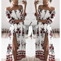 Cotton side slit One-piece Dress off shoulder   ankle-length printed floral white