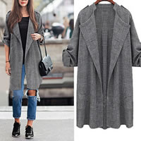 Polyester & Cotton Women Coat plain dyed Solid grey Sold By PC