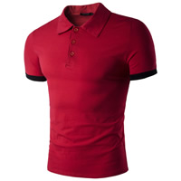 Cotton Polo Shirt regular plain dyed patchwork Sold By PC