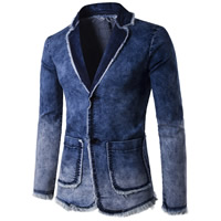 Denim Men Leisure Suit plain dyed patchwork blue