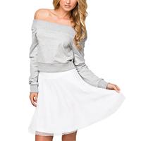 Spandex   Cotton Women Sweatshirts off shoulder patchwork grey