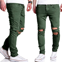 Polyester   Cotton Middle Waist Men Casual Pants frayed patchwork