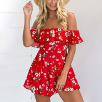 Polyester   Cotton Women Romper printed floral red