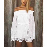 Chiffon   Polyester One-piece Dress hollow Solid white
