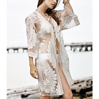 Cotton Swimming Cover Ups hollow   transparent embroider floral white Size:Free Size Sold By PC