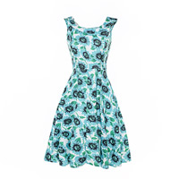 Polyester   Cotton One-piece Dress printed floral green