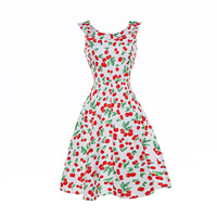 Polyester   Cotton One-piece Dress printed fruit pattern white