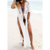 Chiffon   Lace Swimming Cover Ups transparent embroider patchwork white Size:Free Size