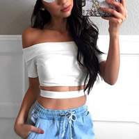 Cotton Crop Top Short Sleeve Nightclub Top hollow plain dyed Solid white