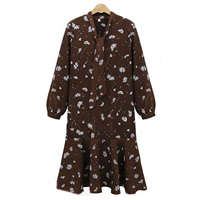 Polyester   Cotton Plus Size One-piece Dress printed floral