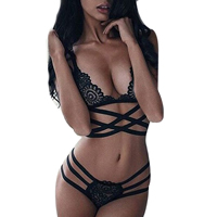 Spandex Sexy Bra Set hollow embroider Solid black
