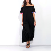 Cotton Miracle Tassel Long Evening Dress backless off shoulder & mid-calf plain dyed Solid black Sold By PC