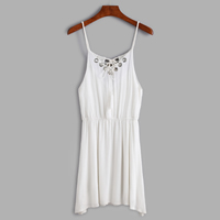 Rayon Lace Up Slip Dress hollow plain dyed Solid white Size:Free Size