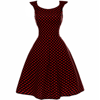 Polyester   Cotton One-piece Dress printed dot red