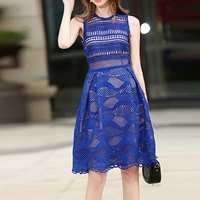 Lace One-piece Dress hollow patchwork Sold By PC
