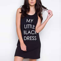 Cotton One-piece Dress printed letter black