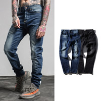 Denim Middle Waist Men Jeans without belt printed striped Sold By PC