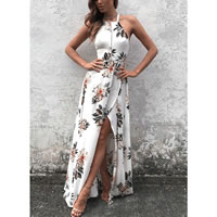 Chiffon Halter Dress side slit   backless hollow   ankle-length printed floral white Sold By PC