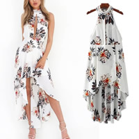 Chiffon side slit   Asymmetrical Halter Dress backless short front long back   hollow printed floral white