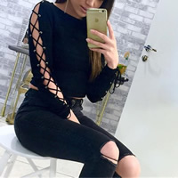 Polyester   Cotton Lace Up Long Sleeve Nightclub Top off shoulder plain dyed Solid black