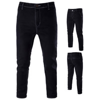 Denim Middle Waist Men Jeans embroidered letter black Sold By PC