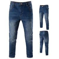 Denim Middle Waist Men Jeans frayed Solid deep blue Sold By PC