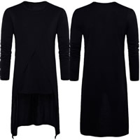 Polyester   Cotton Men Long Sleeve T-shirt loose plain dyed Solid black Sold By PC