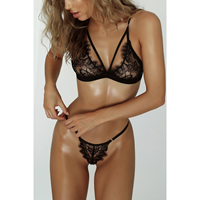 Acrylic & Spandex Sexy Bra Set hollow embroider Solid Sold By PC