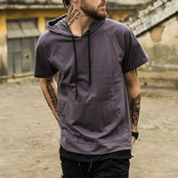Cotton Men Sweatshirts loose plain dyed Solid Sold By PC