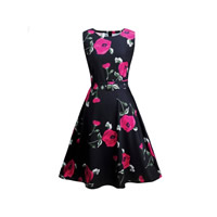 Cotton One-piece Dress with belt printed floral Sold By PC