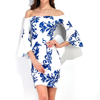 Polyester & Cotton One-piece Dress wrapped chest printed floral Sold By PC