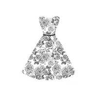 Cotton One-piece Dress with belt printed floral white Sold By PC