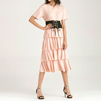 Cotton High Waist One-piece Dress with belt knitted Solid pink Sold By PC