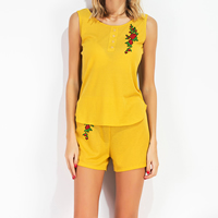 Cotton Women Sportswear Set short & sleeveless T-shirt embroidered floral yellow Sold By PC