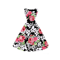Cotton Princess One-piece Dress with belt printed floral Sold By PC